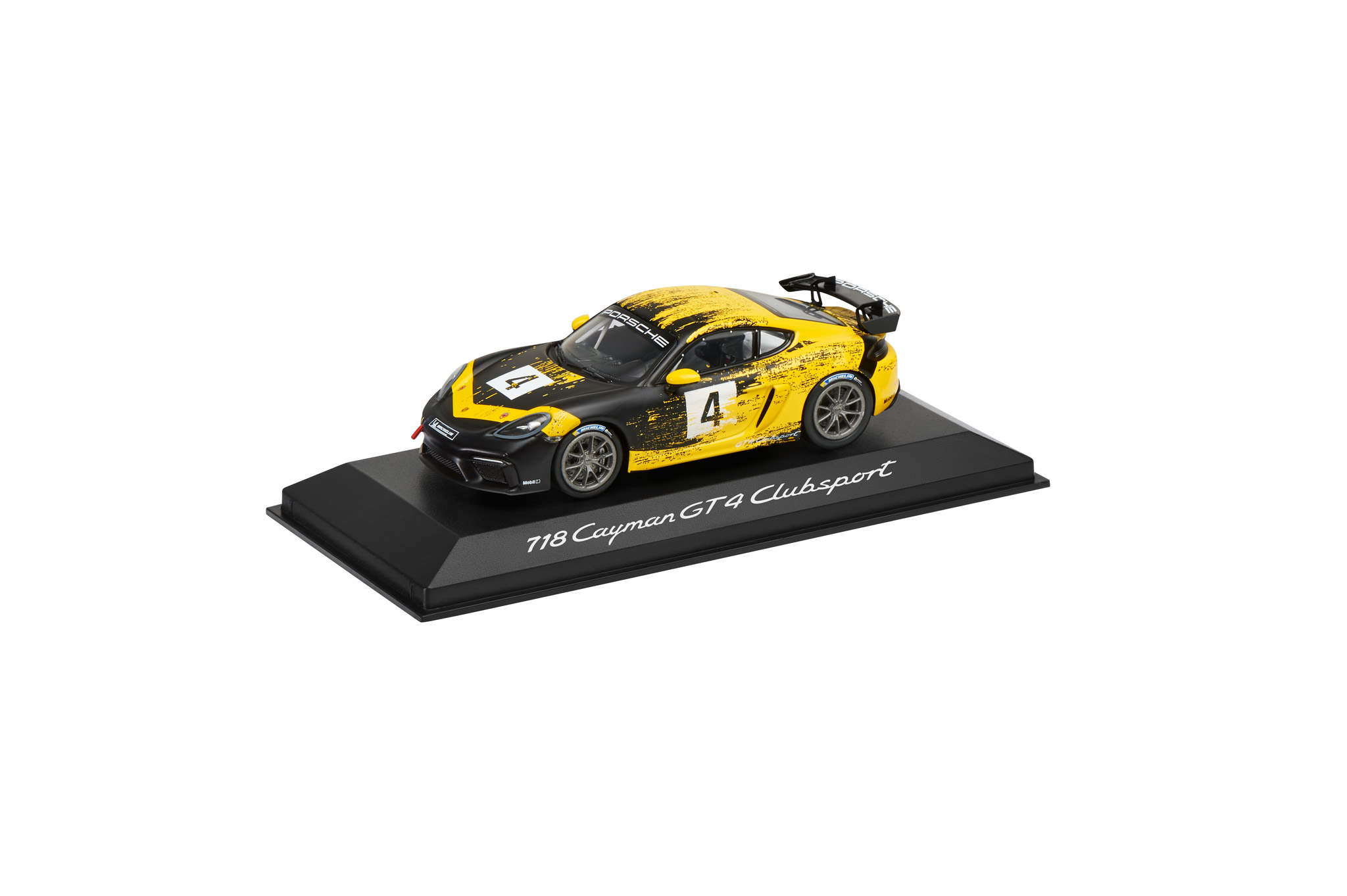 Модель авто 718 Cayman GT4, Calendar Edition, DieCast, racing yellow, black, 1:43